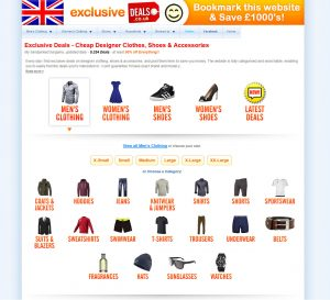A secreenshot of the Exclusive Deals website, featuring clothing, shoes & accessories deals